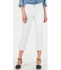 style & co petite high-cuff capri jeans, created for macy's