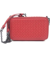 bottega veneta intrecciato leather wallet on chain red sz: