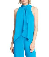 women's halston heritage sleeveless ruffle bodice jumpsuit, size 8 - blue
