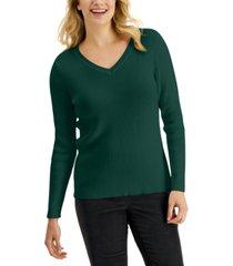 karen scott cotton solid rib v-neck sweater, created for macy's