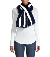 striped faux-fur pull-through scarf