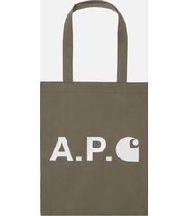 a.p.c. x carhartt tote bag - kaki