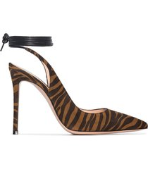 gianvito rossi 105mm zebra ankle tie pumps - brown