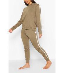 side stripe hoodie & jogger lounge set, khaki
