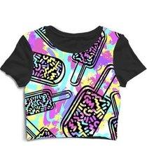 blusa feminina cropped tshirt sorvere psicodélico - feminino