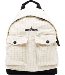 stone island reflective logo-embroidered backpack - white