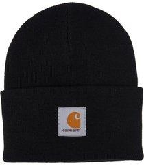 carhartt black logo patch beanie