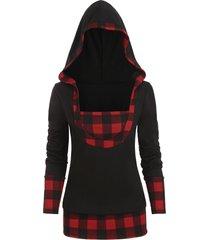 plaid panel popover plus size hoodie