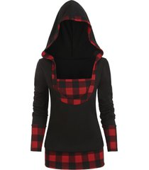 plaid panel popover plus size hoodie