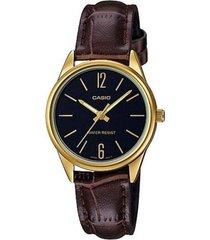 reloj casio ltp-v005gl-1b2 marrón cuero