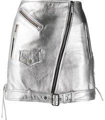 manokhi buckle and zip detail skirt - grey