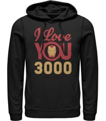 marvel men's avengers endgame iron man face i love you 3000, pullover hoodie