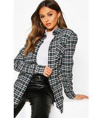 oversized geruite boyfriend blouse, zwart