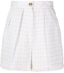 elisabetta franchi textured-check high-waisted shorts - white