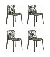 conjunto 04 cadeiras gruv marrom rivatti