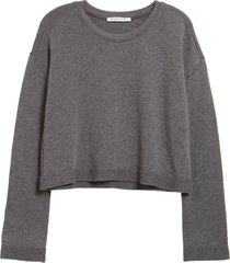 women's groceries apparel solstice organic cotton & recycled polyester crop sweatshirt, size x-large - grey