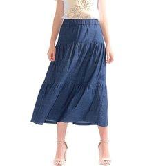 falda para mujer larga en denim, color índigo color-azul-talla-14