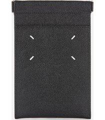 maison margiela men's leather iphone pouch case - black