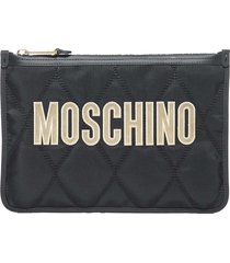 moschino pouch quilted logo tote