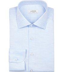 camicia da uomo su misura, canclini, microdesign melange azzurra, quattro stagioni | lanieri