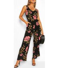 mouwloze bloemenprint jumpsuit met split, zwart
