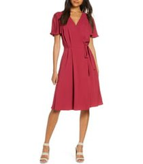 gal meets glam collection kinsley flutter sleeve wrap dress, size 12 in candy apple at nordstrom