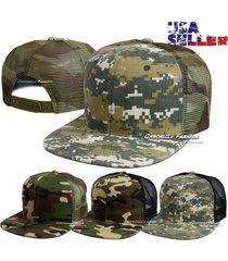 new baseball cap trucker flat bill camouflage snapback adjustable mesh plain hat