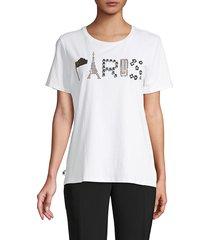 karl lagerfeld paris women's paris embellished graphic t-shirt - white gold - size s