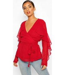 dobby chiffon ruffle blouse, red