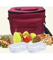 kit bolsa térmica tipo keeppack pink + 2 refeições rythmoon