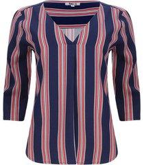 blusa manga 3/4 rayas color azul, talla 6