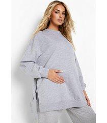 zwangerschap gerecyclede borstvoeding sweater met zijstrikjes, grey marl