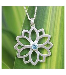 blue topaz pendant necklace, 'star of truth' (thailand)