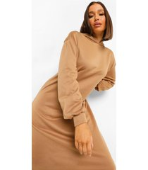 oversized met capuchon midi sweatshirt jurk, kameel