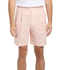 men's berle pleated seersucker shorts, size 34 - orange