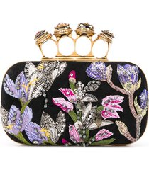 alexander mcqueen floral-embroidered 4-ring clutch - black