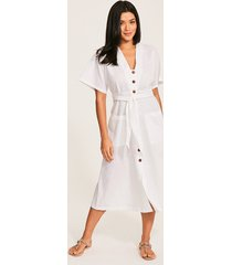 ocean alley linen button front dress