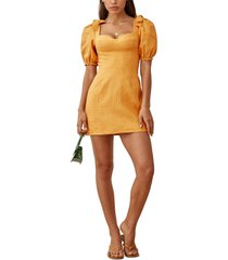 women's reformation spring bow sleeve dress, size 8 - yellow