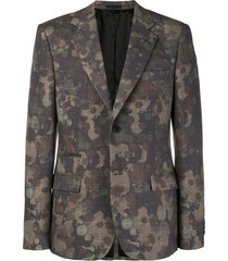 mixed- print blazer green