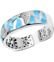 marahlago larimar & white sapphire (5/8 ct. t.w.) wide cuff bracelet in sterling silver