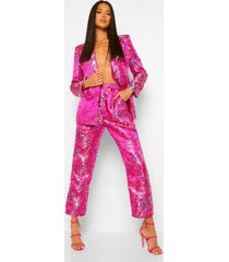 getailleerde oriëntaalse toelopende jacquard broek, pink