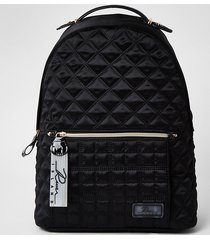 river island womens black satin quilted backpack