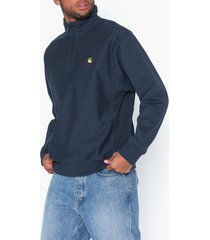 carhartt wip half zip american script sweat tröjor blue