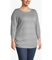lane bryant women's 3/4-sleeve ruched-side sweater 14/16 heather gray