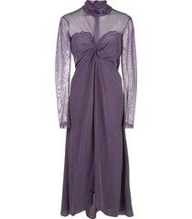 sies marjan frances turtleneck silk dress - purple