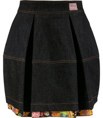 versace jeans couture denim back zip skirt