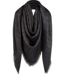 fendi large jacquard ff motif shawl - black