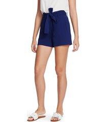 women's 1.state tie waist textured crepe shorts, size 4 - blue