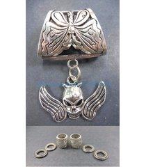 us seller-scarf necklaces skull angel wingpendant slider scarf ring
