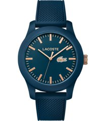 lacoste unisex 12.12 blue silicone strap watch 43mm 2010817